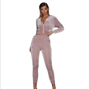 Light pink velour high waisted tracksuit